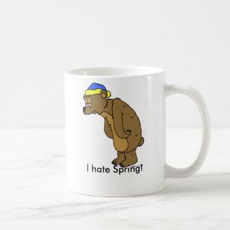 Sleepy Bear, I hate Spring! Basic White Mug