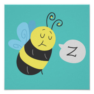 Sleepy Cartoon Bumblebee Poster