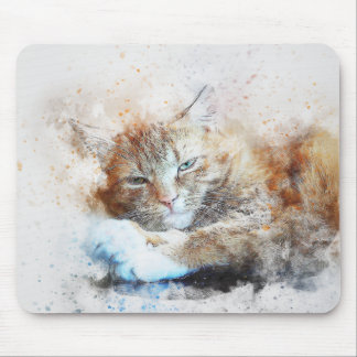 Sleepy Cat Girl | Abstract | Watercolor Mouse Mat