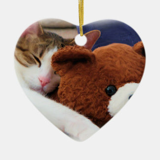 Sleepy Cat Teddy Bear Ceramic Heart Decoration