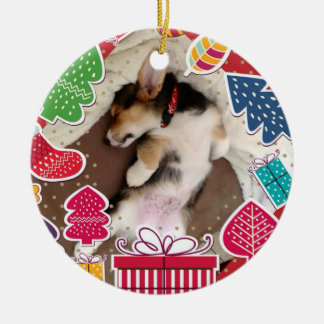 Sleepy Christmas Corgi Puppy Christmas Ornament