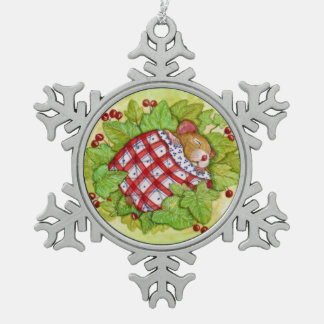 Sleepy Christmas Mouse Snowflake Pewter Christmas Ornament