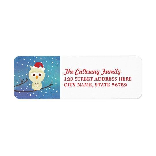 Sleepy Christmas Owl Holiday Return Address Labels