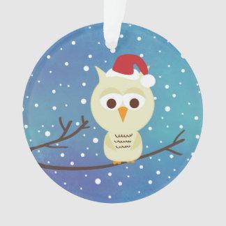 Sleepy Christmas Owl Personalized Holiday Ornament
