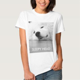 Sleepy dog T-shirt, fluffy white samoyed dog Shirts