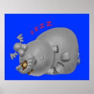 Sleepy Elephant Poster