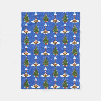 Sleepy Elf & Christmas Tree Fleece Blanket