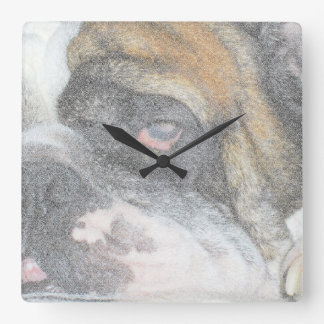 Sleepy English Bulldog wall clock