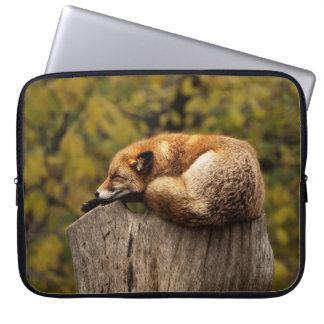 Sleepy Fox Art Print Laptop Sleeve