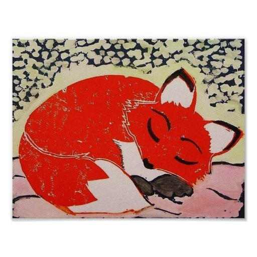 Sleepy Fox Poster, 11 x 8.5 Inches Poster