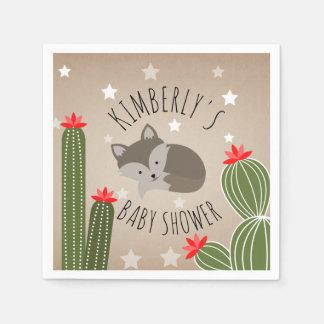 Sleepy Fox Stars Cactus Desert Baby Shower Disposable Serviette