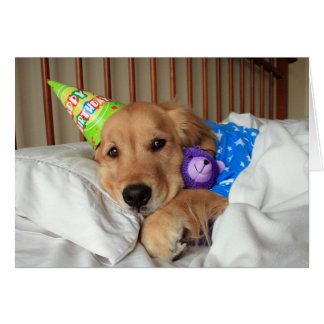 Sleepy Golden Retriever in Pajamas Birthday Card
