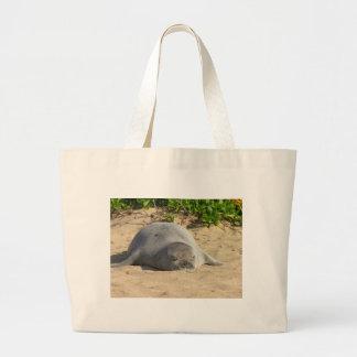 Sleepy Hawaiian Monk Seal Jumbo Tote Bag