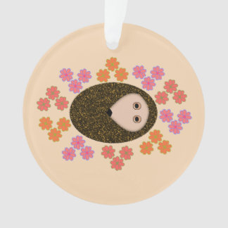 Sleepy Hedgehog and Flowers Acrylic Ornament