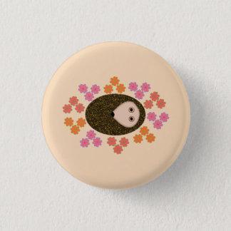 Sleepy Hedgehog and Flowers Button