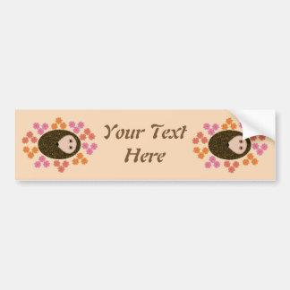 Sleepy Hedgehog and Flowers Custom Car Sticker