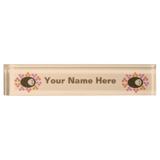 Sleepy Hedgehog and Flowers Custom Nameplate