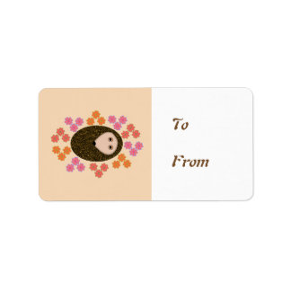 Sleepy Hedgehog and Flowers Custom Present Labels
