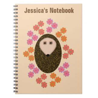 Sleepy Hedgehog and Flowers Customizable Notebook