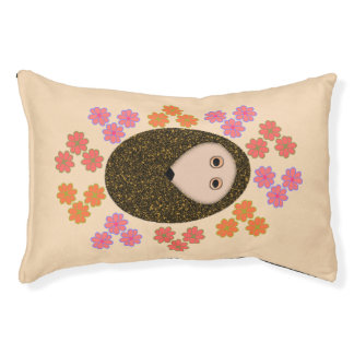 Sleepy Hedgehog and Flowers Dog Bed