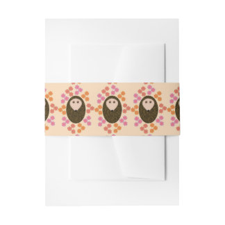 Sleepy Hedgehog and Flowers Invitation Belly Band