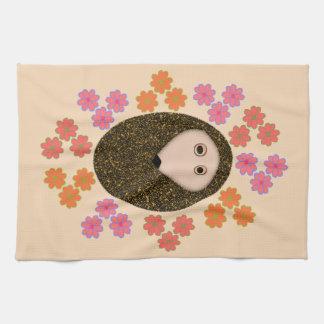 Sleepy Hedgehog and Flowers Kitchen Towel