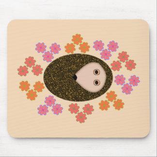 Sleepy Hedgehog and Flowers Mousepad