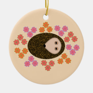 Sleepy Hedgehog and Flowers Ornament