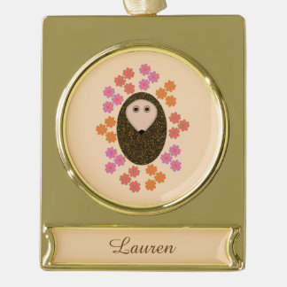 Sleepy Hedgehog and Flowers Personalized Ornament