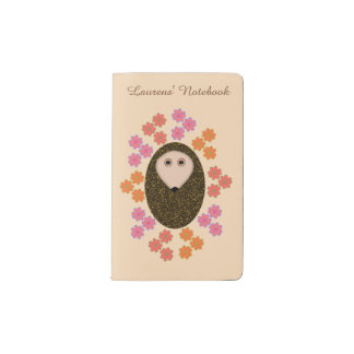 Sleepy Hedgehog and Flowers Personalized Pocket Moleskine Notebook