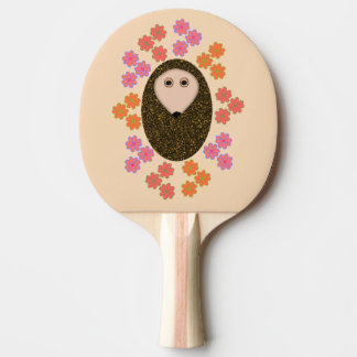 Sleepy Hedgehog and Flowers Ping Pong Paddle