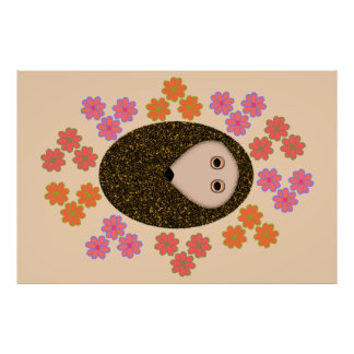 Sleepy Hedgehog and Flowers Poster
