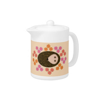 Sleepy Hedgehog and Flowers Teapot