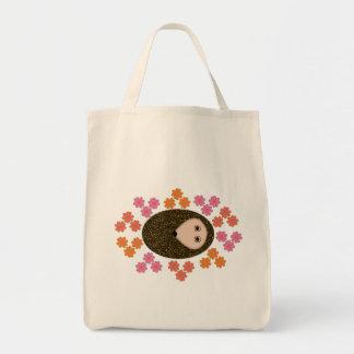 Sleepy Hedgehog and Flowers Tote Bag