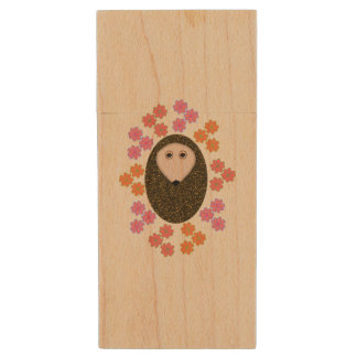 Sleepy Hedgehog and Flowers USB Drive