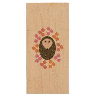 Sleepy Hedgehog and Flowers USB Drive Wood USB 2.0 Flash Drive