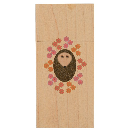 Sleepy Hedgehog and Flowers USB Drive Wood USB