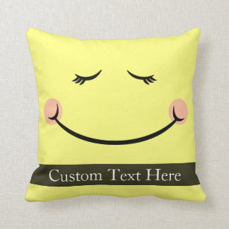Sleepy Kawaii Happy Face Cushion