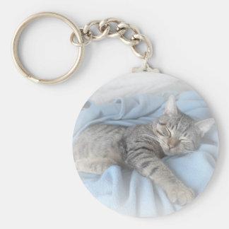 Sleepy Kitty Basic Round Button Key Ring