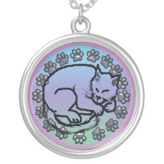sleepy kitty round pendant necklace