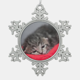 Sleepy kitty snowflake pewter christmas ornament