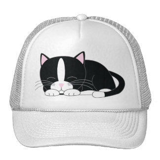 Sleepy Kitty Tuxedo Trucker Hat