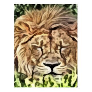 Sleepy lion painting postcard