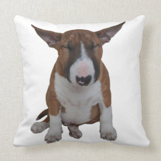 Sleepy Little Bull Terrier Throw Pillow