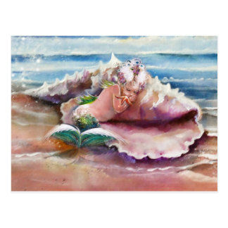 Sleepy Mermaid Postcard