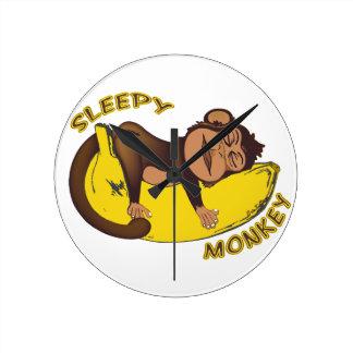 Sleepy Monkey Round Clock