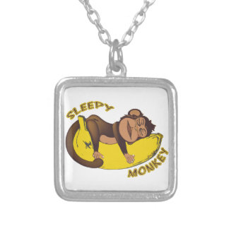 Sleepy Monkey Silver Plated Necklace