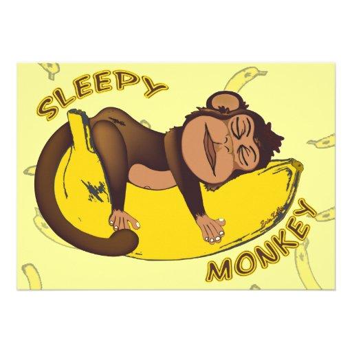 Sleepy Monkey Sleep Over Invitations