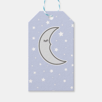 Sleepy Moon Baby shower favour gift tag