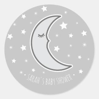 Sleepy Moon Baby shower favour round seal sticker